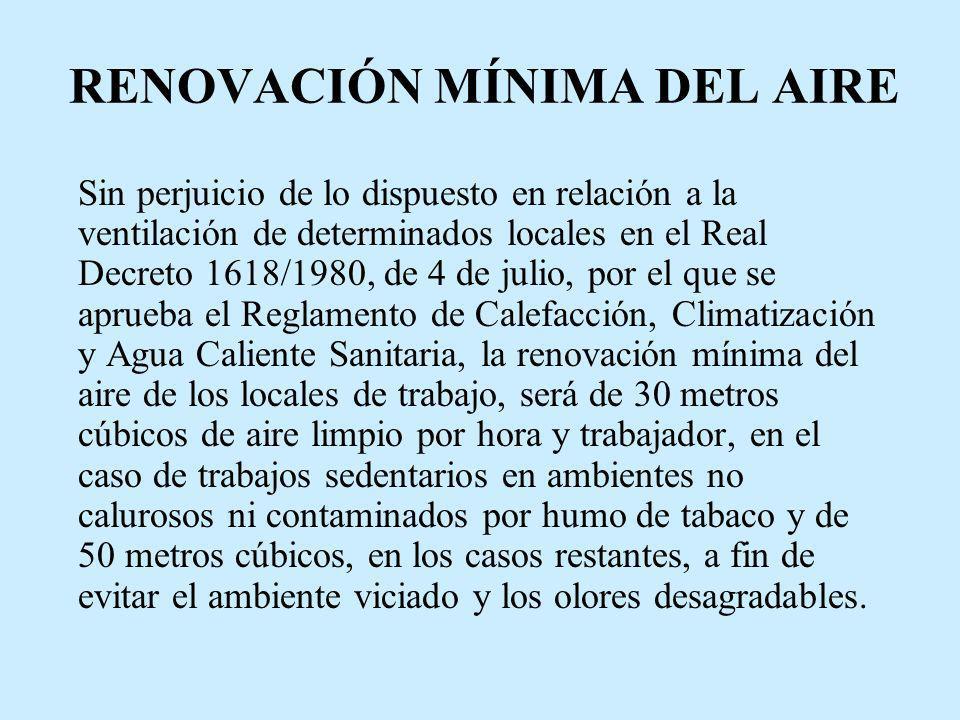 RENOVACIÓN MÍNIMA DEL AIRE Sin perjuicio de lo dispuesto en relación a la ventilación de determinados locales en el Real Decreto 1618/1980, de 4 de ju