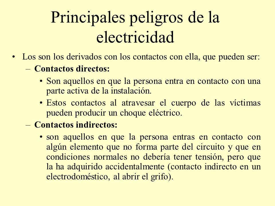 Principales peligros de la electricidad Los son los derivados con los contactos con ella, que pueden ser: –Contactos directos: Son aquellos en que la