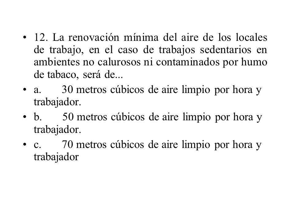 12. La renovación mínima del aire de los locales de trabajo, en el caso de trabajos sedentarios en ambientes no calurosos ni contaminados por humo de