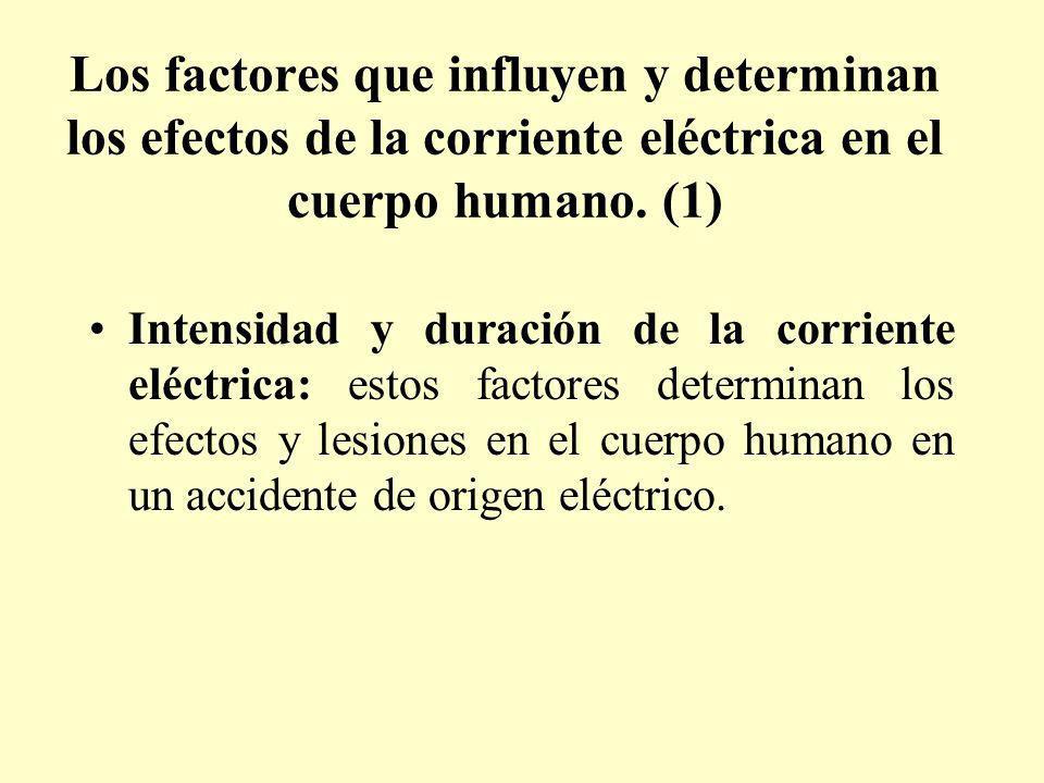 Los factores que influyen y determinan los efectos de la corriente eléctrica en el cuerpo humano. (1) Intensidad y duración de la corriente eléctrica: