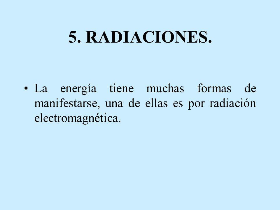 5. RADIACIONES. La energía tiene muchas formas de manifestarse, una de ellas es por radiación electromagnética.