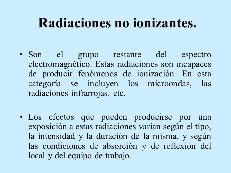 Radiaciones no ionizantes. Son el grupo restante del espectro electromagnético. Estas radiaciones son incapaces de producir fenómenos de ionización. E