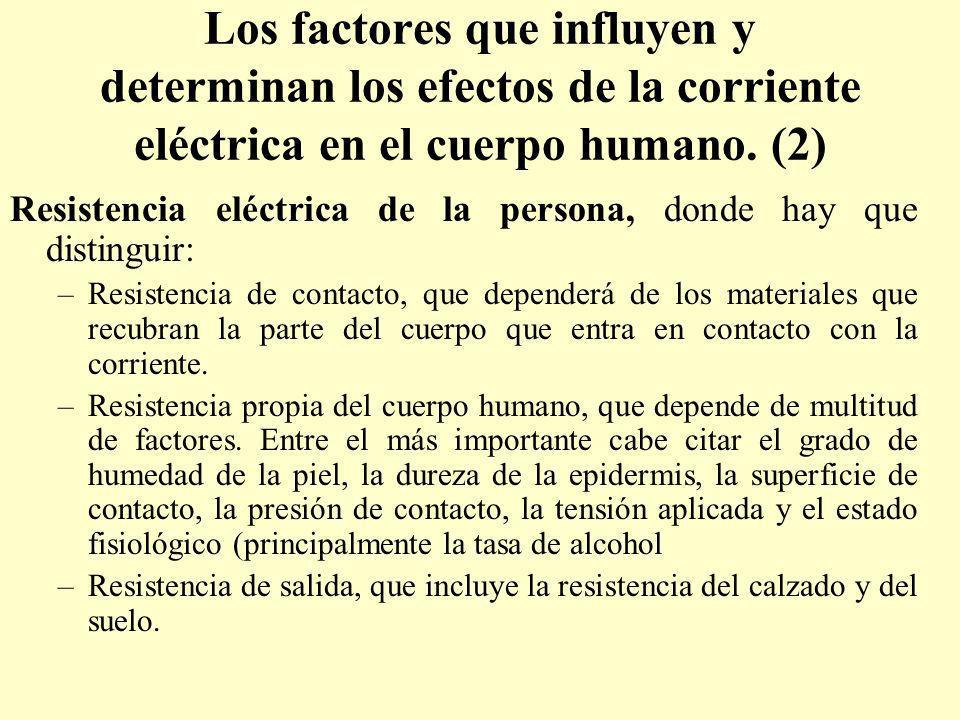 Los factores que influyen y determinan los efectos de la corriente eléctrica en el cuerpo humano. (2) Resistencia eléctrica de la persona, donde hay q