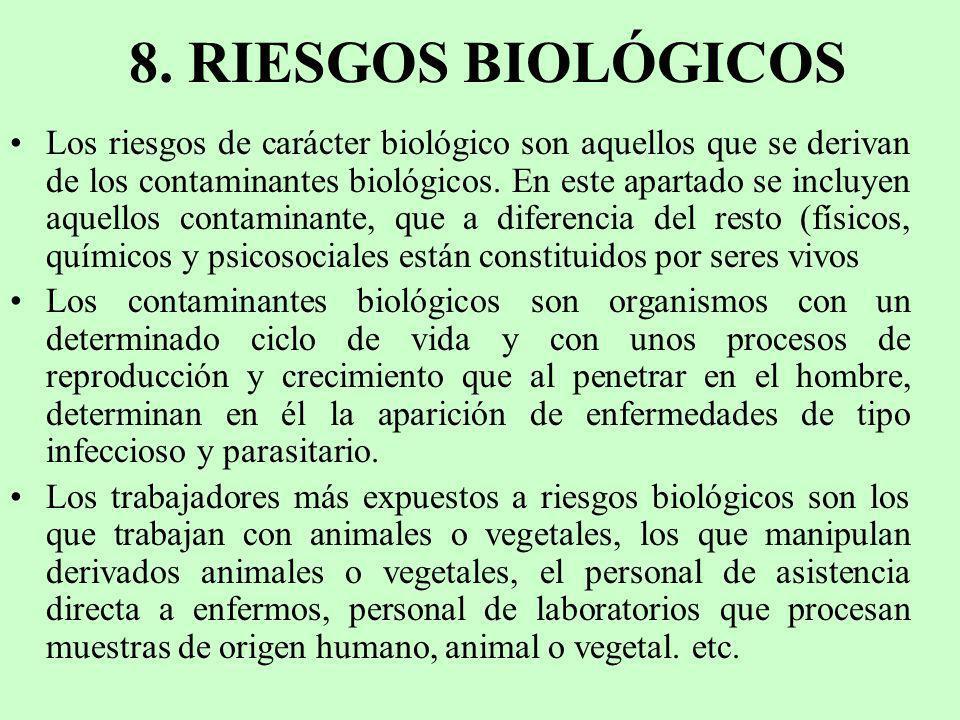 8. RIESGOS BIOLÓGICOS Los riesgos de carácter biológico son aquellos que se derivan de los contaminantes biológicos. En este apartado se incluyen aque