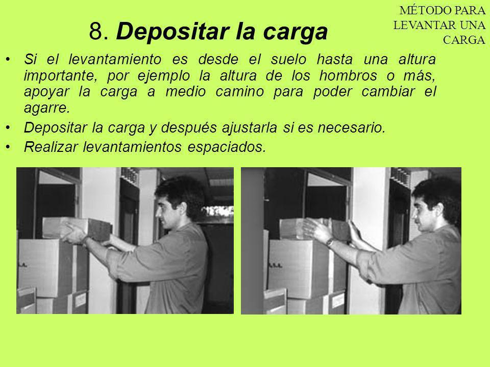 8. Depositar la carga Si el levantamiento es desde el suelo hasta una altura importante, por ejemplo la altura de los hombros o más, apoyar la carga a