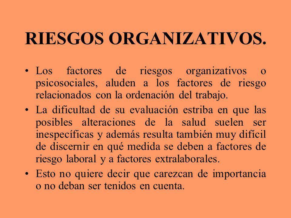 RIESGOS ORGANIZATIVOS. Los factores de riesgos organizativos o psicosociales, aluden a los factores de riesgo relacionados con la ordenación del traba