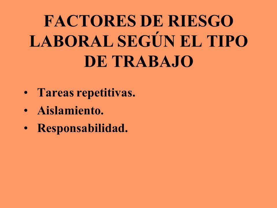 FACTORES DE RIESGO LABORAL SEGÚN EL TIPO DE TRABAJO Tareas repetitivas. Aislamiento. Responsabilidad.