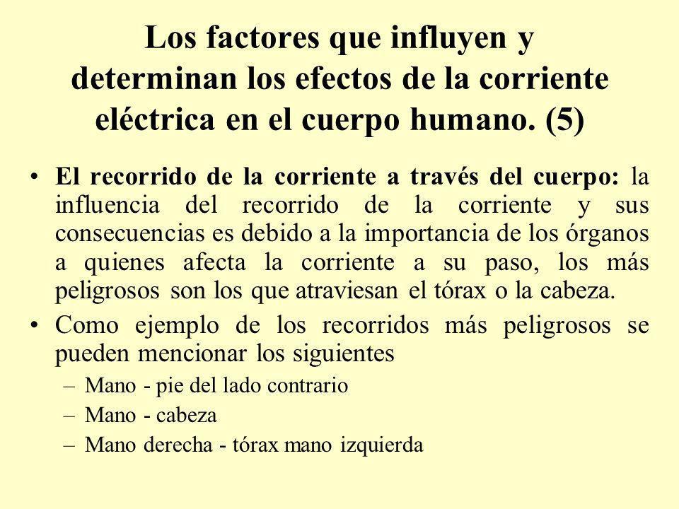 Los factores que influyen y determinan los efectos de la corriente eléctrica en el cuerpo humano. (5) El recorrido de la corriente a través del cuerpo