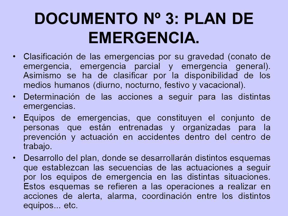 DOCUMENTO Nº 3: PLAN DE EMERGENCIA. Clasificación de las emergencias por su gravedad (conato de emergencia, emergencia parcial y emergencia general).