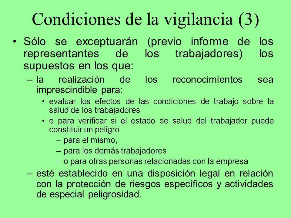 Condiciones de la vigilancia (3) Sólo se exceptuarán (previo informe de los representantes de los trabajadores) los supuestos en los que: –la realizac