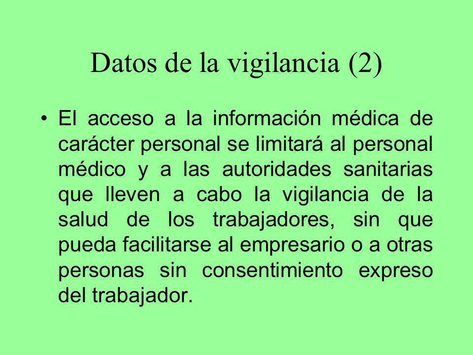 Datos de la vigilancia (2) El acceso a la información médica de carácter personal se limitará al personal médico y a las autoridades sanitarias que ll