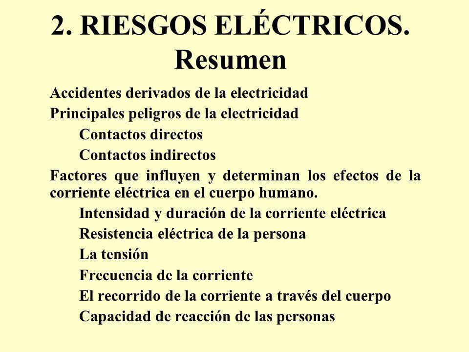 2. RIESGOS ELÉCTRICOS. Resumen Accidentes derivados de la electricidad Principales peligros de la electricidad Contactos directos Contactos indirectos