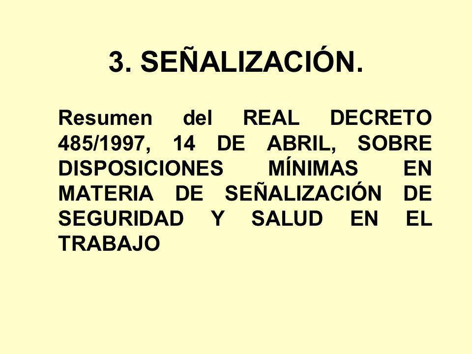 3. SEÑALIZACIÓN. Resumen del REAL DECRETO 485/1997, 14 DE ABRIL, SOBRE DISPOSICIONES MÍNIMAS EN MATERIA DE SEÑALIZACIÓN DE SEGURIDAD Y SALUD EN EL TRA