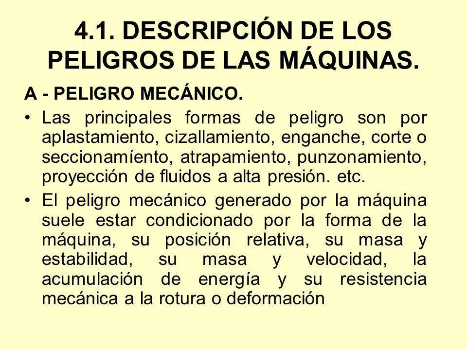 4.1. DESCRIPCIÓN DE LOS PELIGROS DE LAS MÁQUINAS. A - PELIGRO MECÁNICO. Las principales formas de peligro son por aplastamiento, cizallamiento, enganc