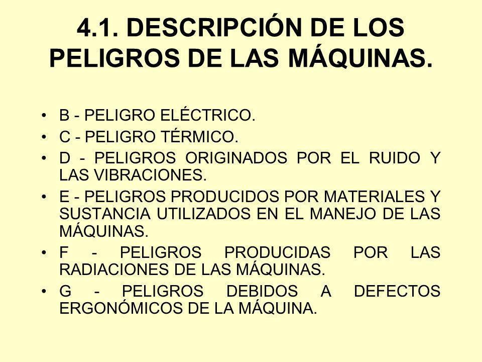 4.1. DESCRIPCIÓN DE LOS PELIGROS DE LAS MÁQUINAS. B - PELIGRO ELÉCTRICO. C - PELIGRO TÉRMICO. D - PELIGROS ORIGINADOS POR EL RUIDO Y LAS VIBRACIONES.
