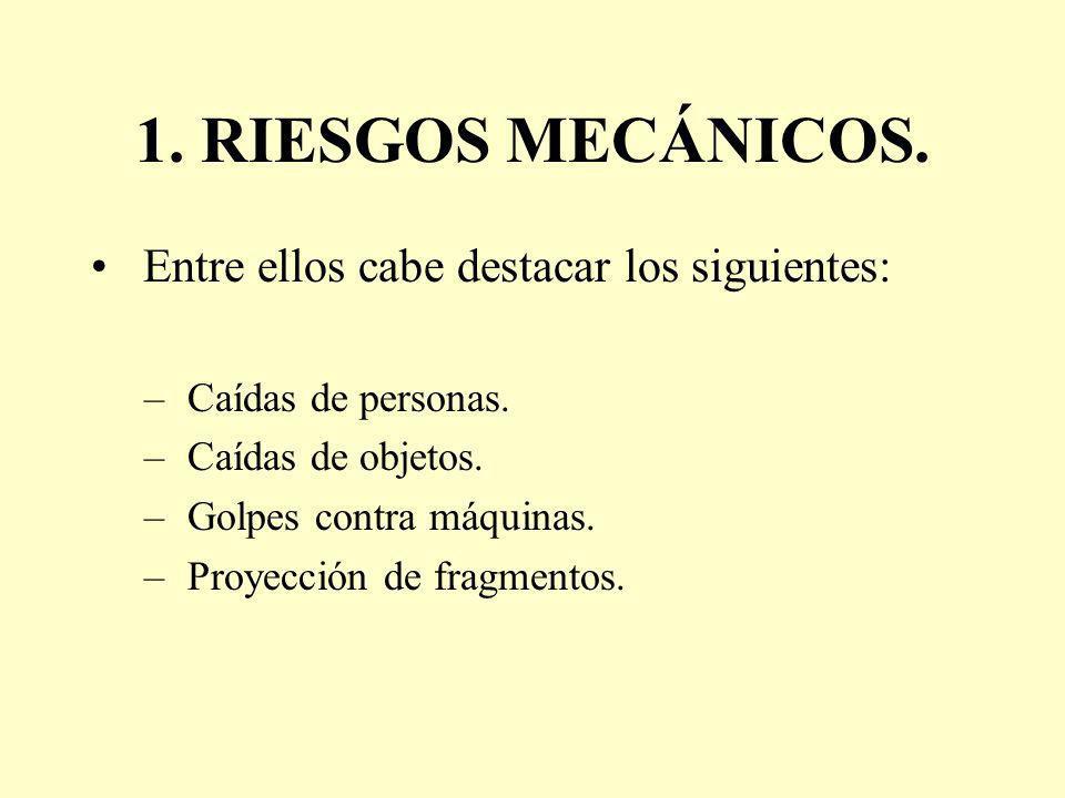 1. RIESGOS MECÁNICOS. Entre ellos cabe destacar los siguientes: – Caídas de personas. – Caídas de objetos. – Golpes contra máquinas. – Proyección de f