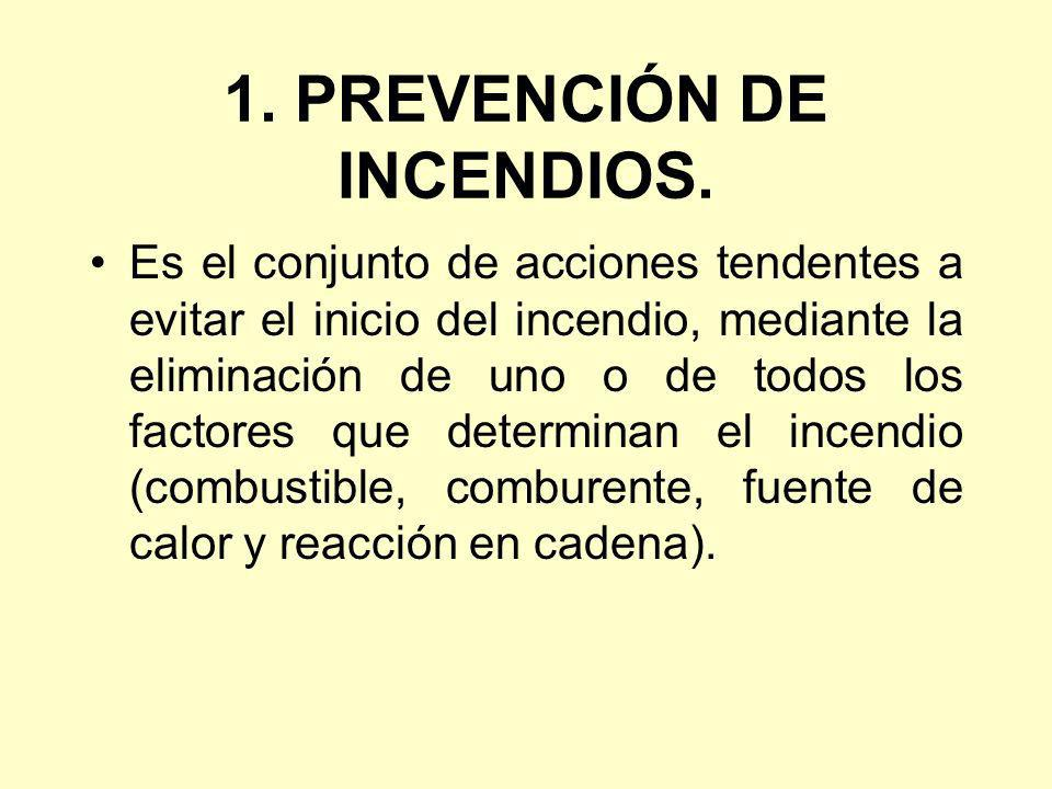 1. PREVENCIÓN DE INCENDIOS. Es el conjunto de acciones tendentes a evitar el inicio del incendio, mediante la eliminación de uno o de todos los factor