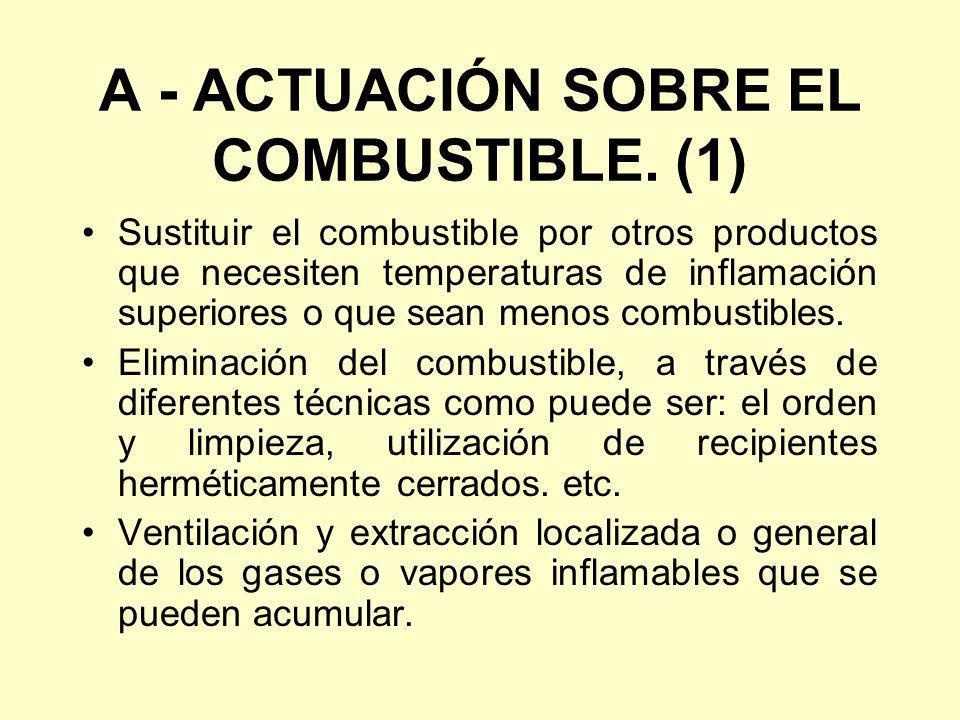 A - ACTUACIÓN SOBRE EL COMBUSTIBLE. (1) Sustituir el combustible por otros productos que necesiten temperaturas de inflamación superiores o que sean m