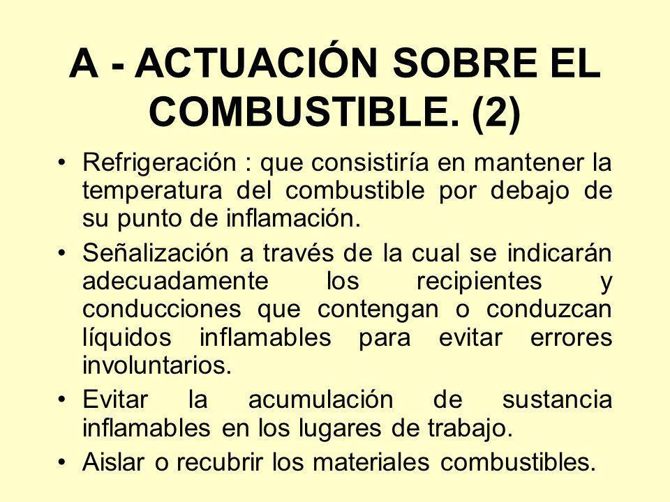 A - ACTUACIÓN SOBRE EL COMBUSTIBLE. (2) Refrigeración : que consistiría en mantener la temperatura del combustible por debajo de su punto de inflamaci
