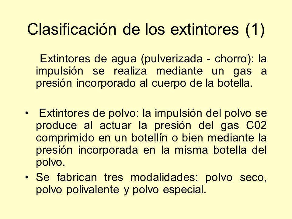 Clasificación de los extintores (1) Extintores de agua (pulverizada - chorro): la impulsión se realiza mediante un gas a presión incorporado al cuerpo