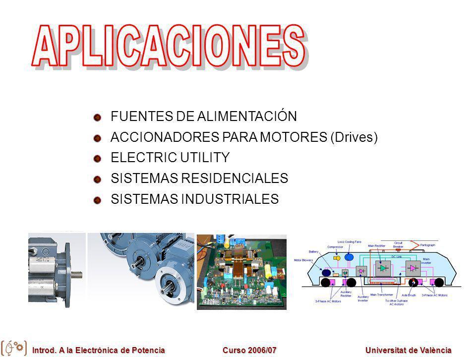 Introd. A la Electrónica de PotenciaCurso 2006/07Universitat de València FUENTES DE ALIMENTACIÓN ACCIONADORES PARA MOTORES (Drives) ELECTRIC UTILITY S