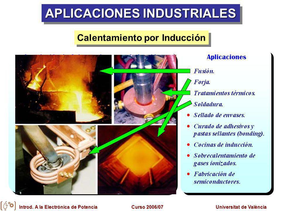 Introd. A la Electrónica de PotenciaCurso 2006/07Universitat de València Inductor-pieza Condensadores Generador Refrigeración Sistema de control Insta