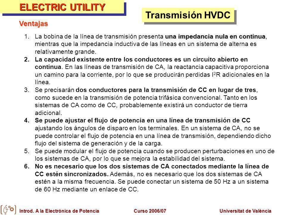 Introd. A la Electrónica de PotenciaCurso 2006/07Universitat de València ELECTRIC UTILITY Transmisión HVDC una impedancia nula en continua 1.La bobina