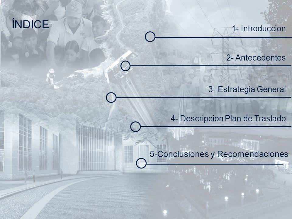 ÍNDICE 1- Introduccion 2- Antecedentes 3- Estrategia General 4- Descripcion Plan de Traslado 5-Conclusiones y Recomendaciones