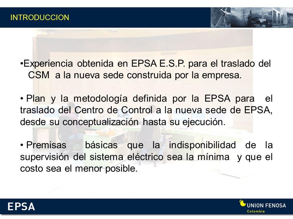 INTRODUCCION Experiencia obtenida en EPSA E.S.P. para el traslado del CSM a la nueva sede construida por la empresa. Plan y la metodología definida po