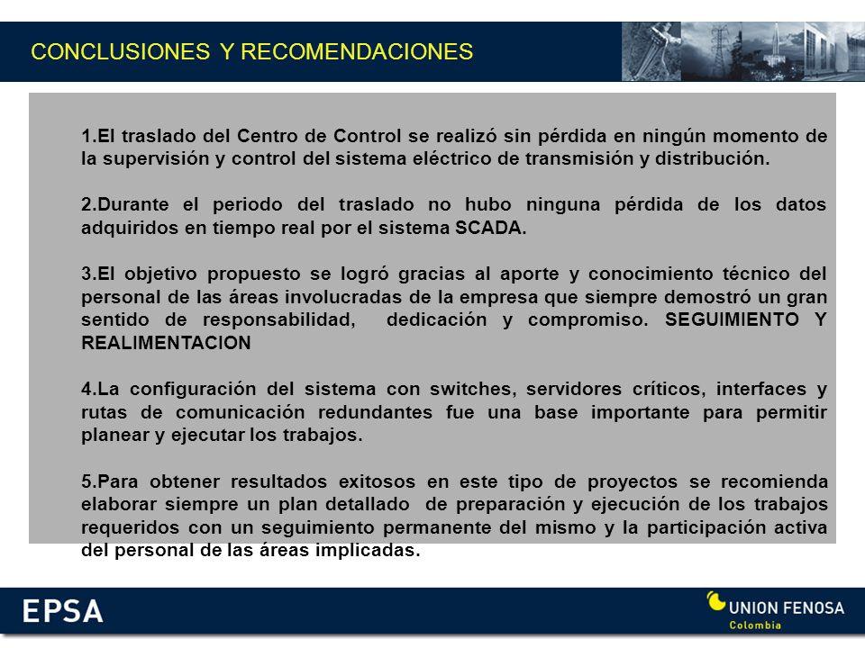 CONCLUSIONES Y RECOMENDACIONES 1.El traslado del Centro de Control se realizó sin pérdida en ningún momento de la supervisión y control del sistema el