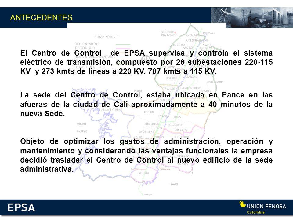 ANTECEDENTES El Centro de Control de EPSA supervisa y controla el sistema eléctrico de transmisión, compuesto por 28 subestaciones 220-115 KV y 273 km