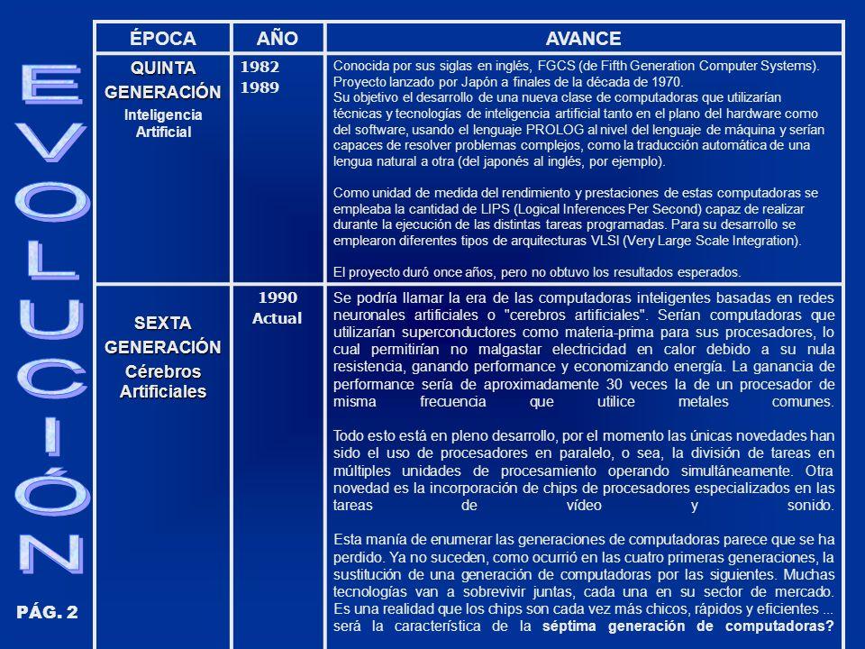 ÉPOCAAÑOAVANCEQUINTAGENERACIÓN Inteligencia Artificial 1982 1989 Conocida por sus siglas en inglés, FGCS (de Fifth Generation Computer Systems). Proye