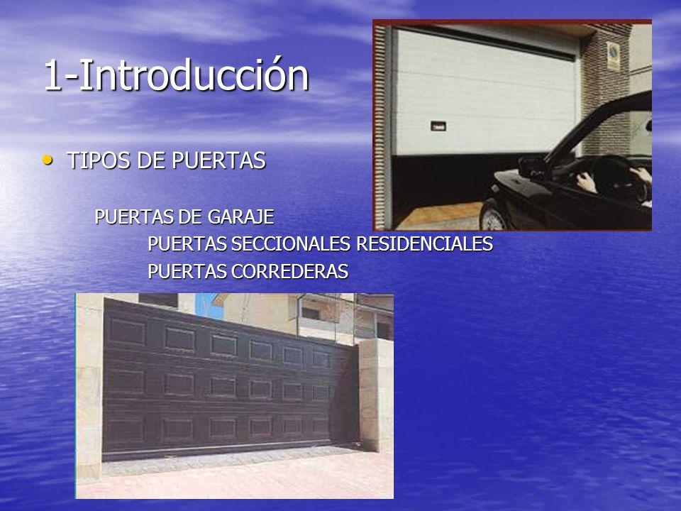 1-Introducción TIPOS DE PUERTAS TIPOS DE PUERTAS PUERTAS DE GARAJE PUERTAS DE GARAJE PUERTAS SECCIONALES RESIDENCIALES PUERTAS SECCIONALES RESIDENCIAL