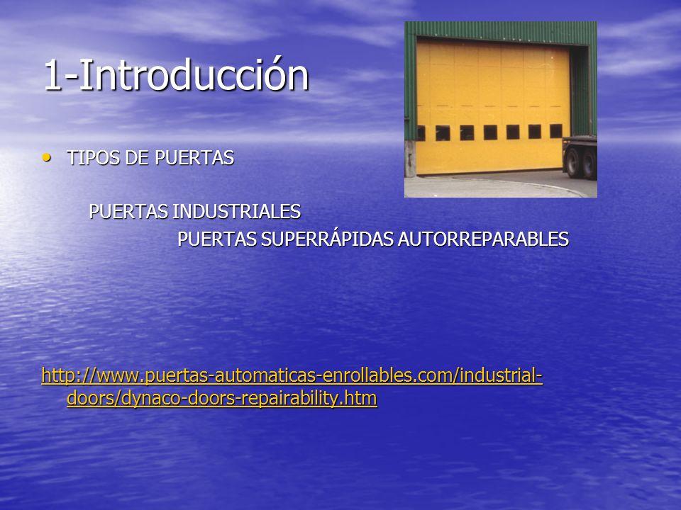1-Introducción TIPOS DE PUERTAS TIPOS DE PUERTAS PUERTAS INDUSTRIALES PUERTAS INDUSTRIALES PUERTAS SUPERRÁPIDAS AUTORREPARABLES http://www.puertas-aut