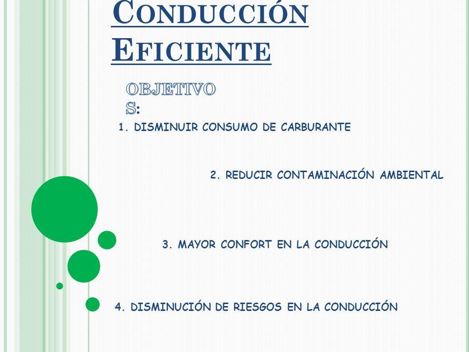 1. DISMINUIR CONSUMO DE CARBURANTE 2. REDUCIR CONTAMINACIÓN AMBIENTAL 3.