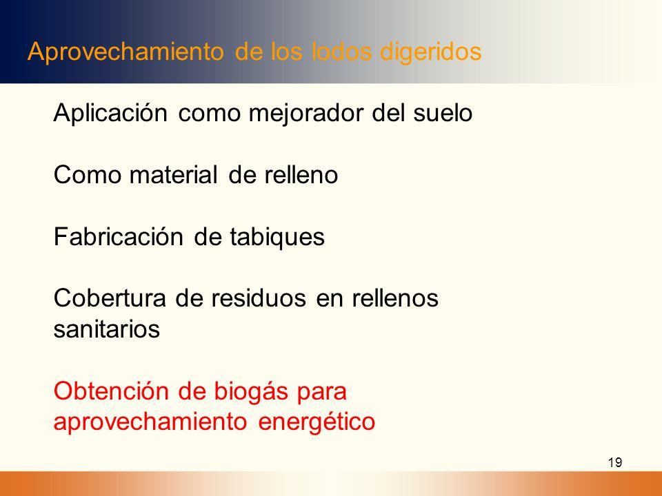 19 Aprovechamiento de los lodos digeridos Aplicación como mejorador del suelo Como material de relleno Fabricación de tabiques Cobertura de residuos e