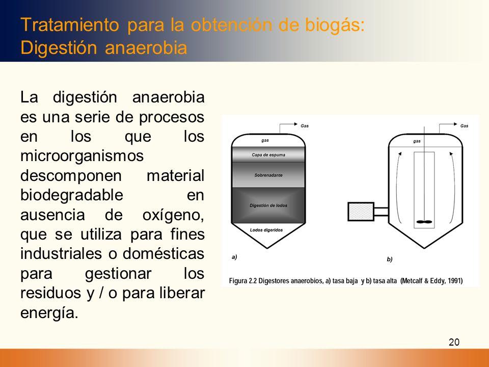 20 Tratamiento para la obtención de biogás: Digestión anaerobia La digestión anaerobia es una serie de procesos en los que los microorganismos descomp