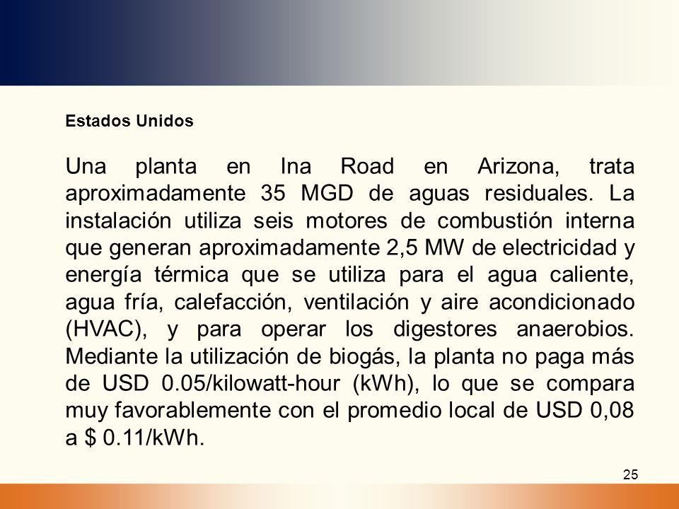 25 Estados Unidos Una planta en Ina Road en Arizona, trata aproximadamente 35 MGD de aguas residuales. La instalación utiliza seis motores de combusti