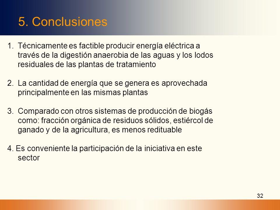 32 5. Conclusiones 1.Técnicamente es factible producir energía eléctrica a través de la digestión anaerobia de las aguas y los lodos residuales de las