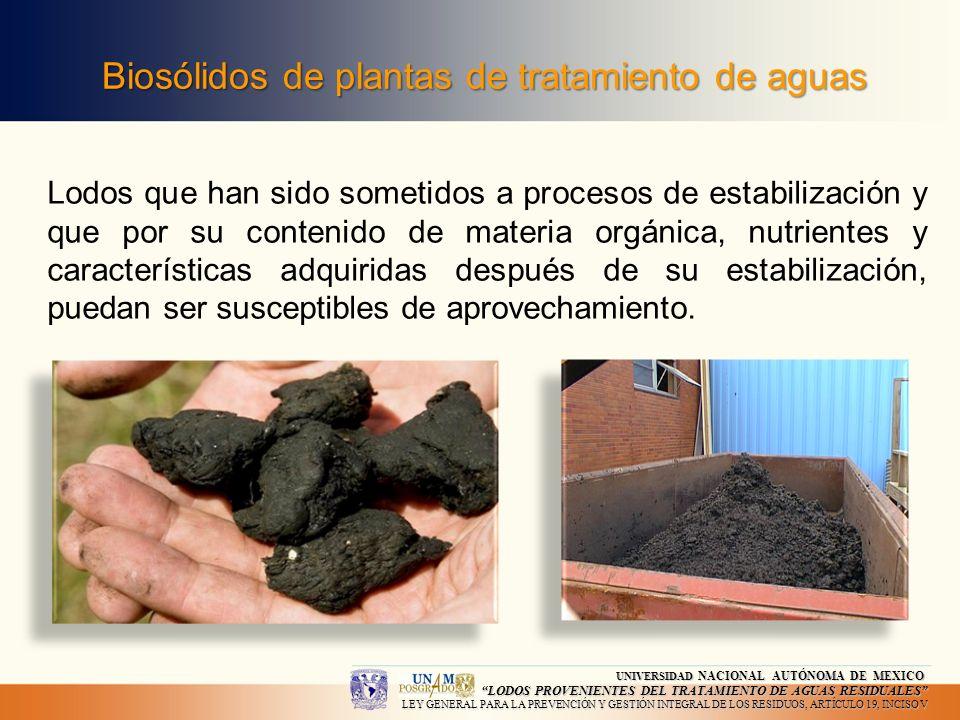 Biosólidos de plantas de tratamiento de aguas Lodos que han sido sometidos a procesos de estabilización y que por su contenido de materia orgánica, nu