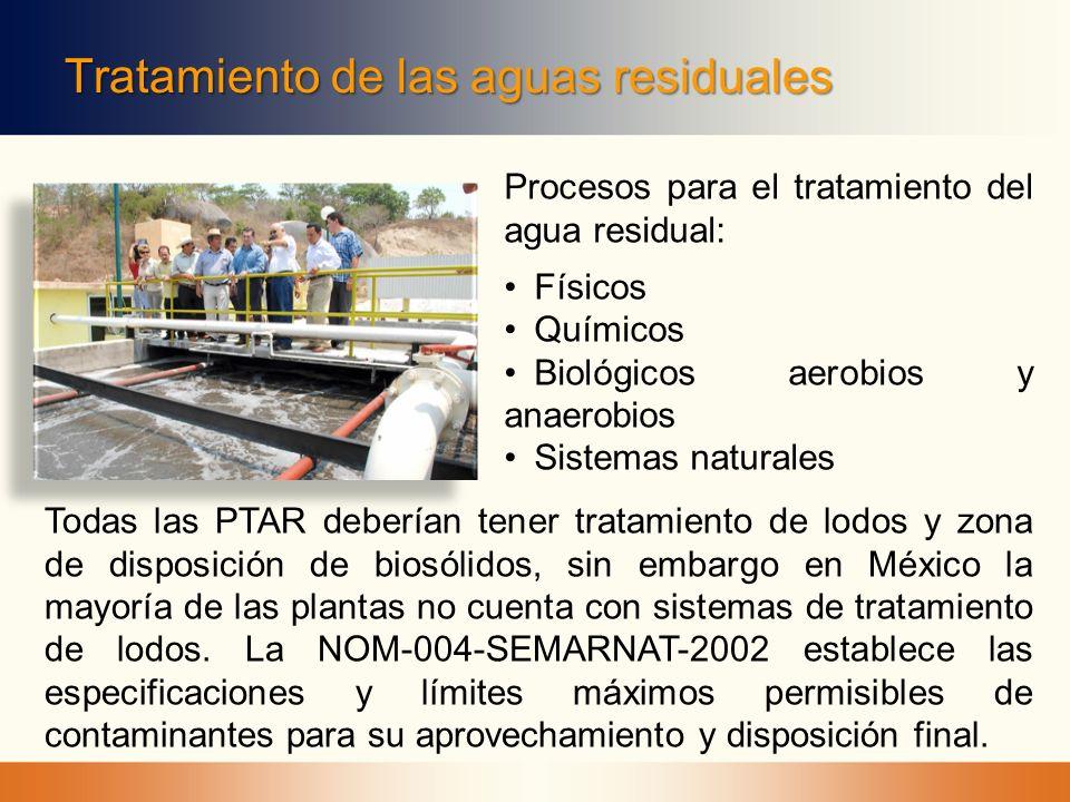 Tratamiento de las aguas residuales Procesos para el tratamiento del agua residual: Físicos Químicos Biológicos aerobios y anaerobios Sistemas natural