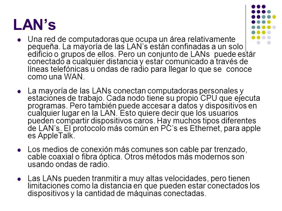 LANs Una red de computadoras que ocupa un área relativamente pequeña. La mayoría de las LANs están confinadas a un solo edificio o grupos de ellos. Pe