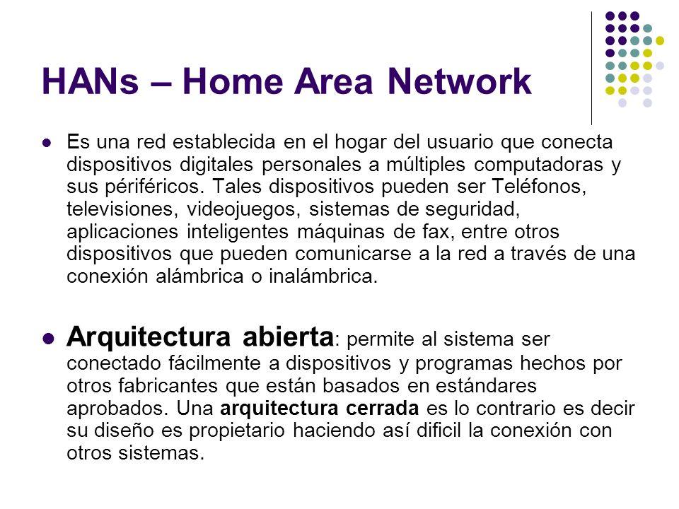 HANs – Home Area Network Es una red establecida en el hogar del usuario que conecta dispositivos digitales personales a múltiples computadoras y sus p