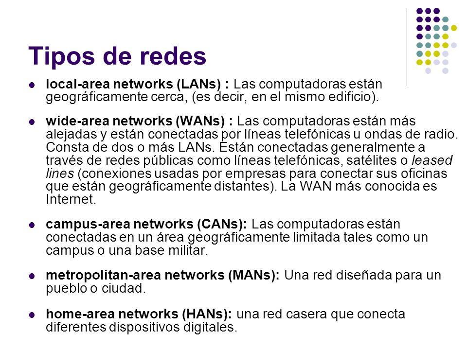Tipos de redes local-area networks (LANs) : Las computadoras están geográficamente cerca, (es decir, en el mismo edificio). wide-area networks (WANs)
