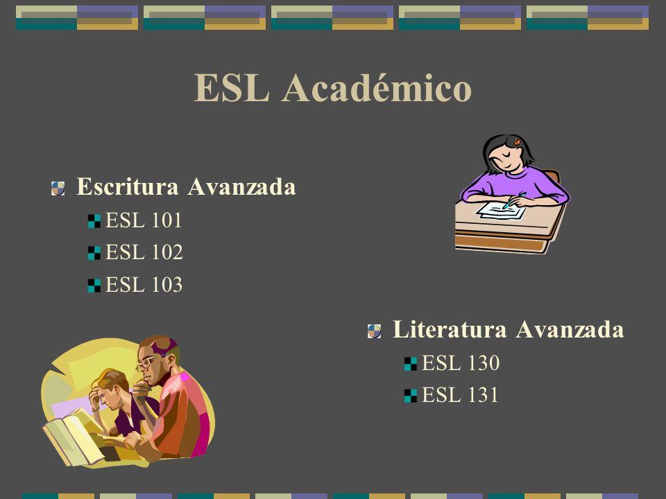 ESL Académico Escritura Avanzada ESL 101 ESL 102 ESL 103 Literatura Avanzada ESL 130 ESL 131