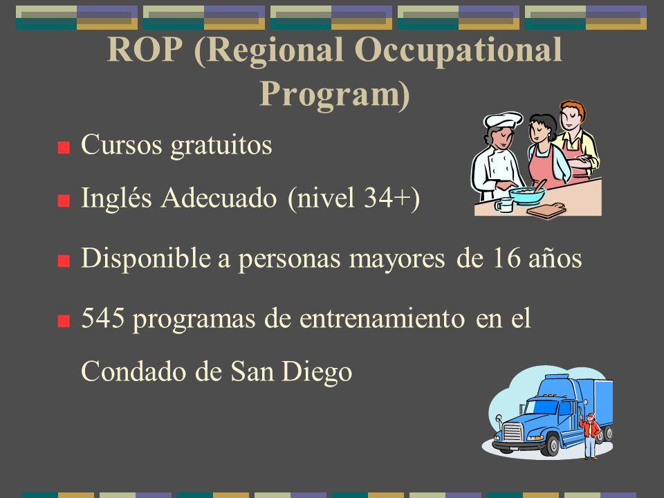 ROP (Regional Occupational Program) Cursos gratuitos Inglés Adecuado (nivel 34+) Disponible a personas mayores de 16 años 545 programas de entrenamiento en el Condado de San Diego