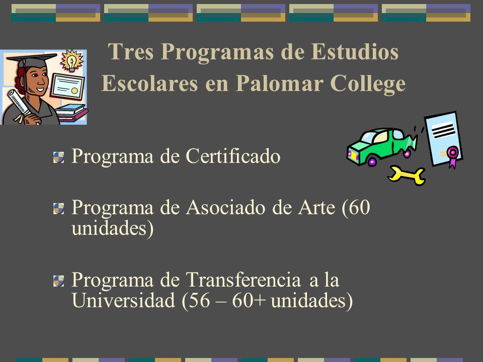Programa de Certificado Programa de Asociado de Arte (60 unidades) Programa de Transferencia a la Universidad (56 – 60+ unidades) Tres Programas de Estudios Escolares en Palomar College