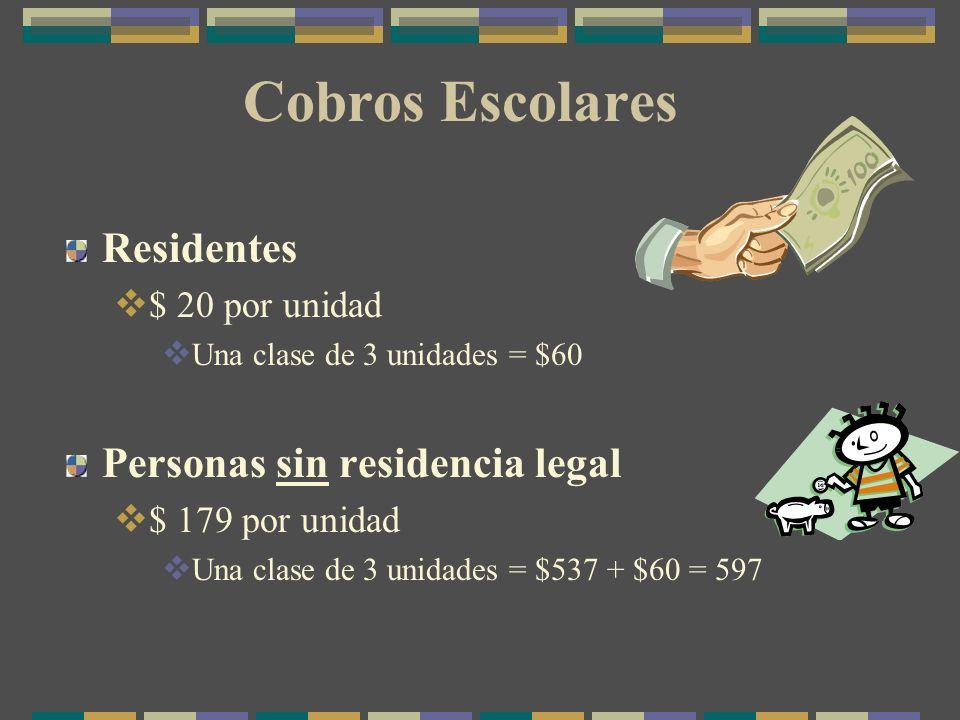 Cobros Escolares Residentes $ 20 por unidad Una clase de 3 unidades = $60 Personas sin residencia legal $ 179 por unidad Una clase de 3 unidades = $537 + $60 = 597
