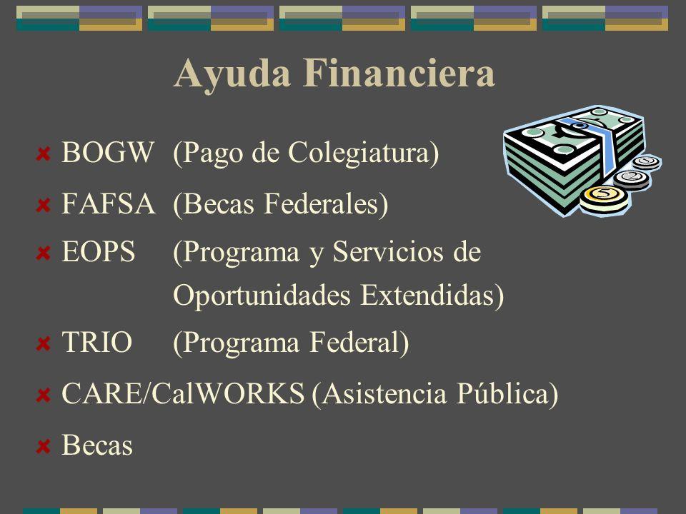 Ayuda Financiera BOGW (Pago de Colegiatura) FAFSA(Becas Federales) EOPS (Programa y Servicios de Oportunidades Extendidas) TRIO (Programa Federal) CARE/CalWORKS (Asistencia Pública) Becas
