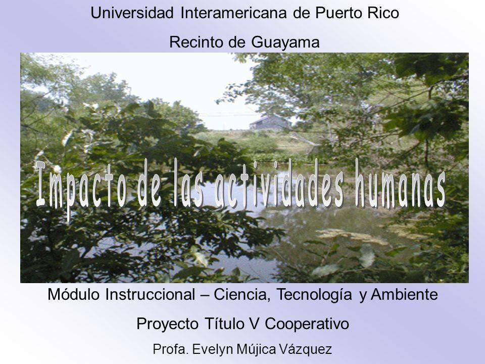 Universidad Interamericana de Puerto Rico Recinto de Guayama Módulo Instruccional – Ciencia, Tecnología y Ambiente Proyecto Título V Cooperativo Profa